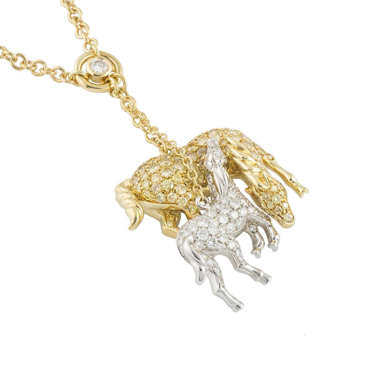 Yellow and white diamond horse pendant rich diamonds of bond street yellow and white diamond horse pendant aloadofball Image collections